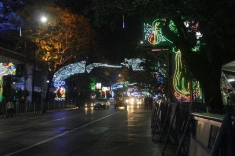 Lighting In Park Street Kolkata During Christmas