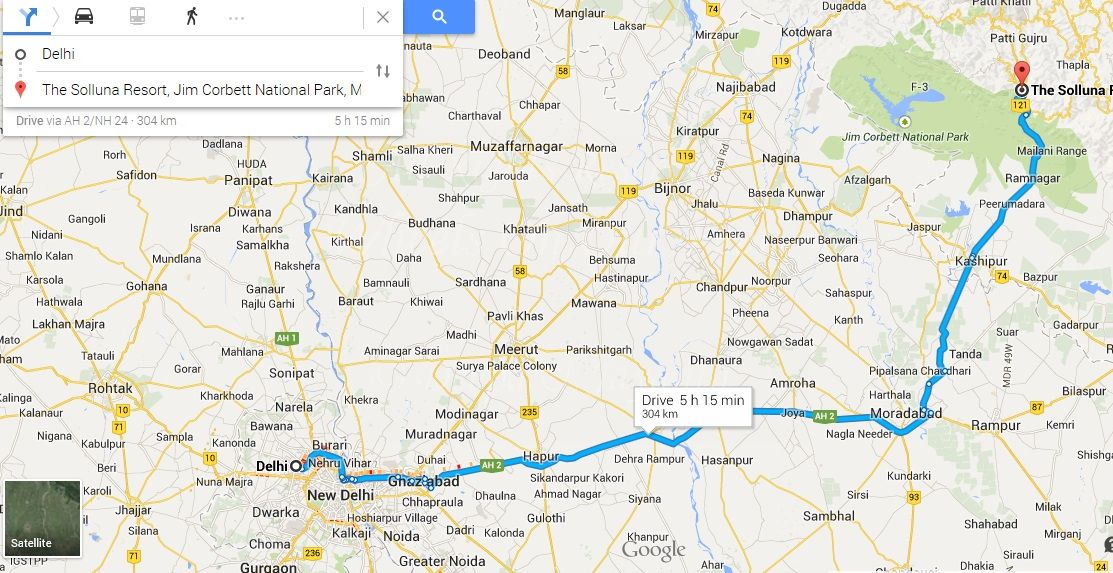 Map-Delhi to Jim Corbett